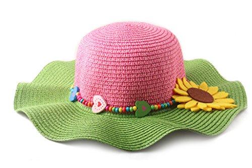 Dantiya Kids 4 Colors Large Brim Flower Beach Sun Hats for Girls - Girl Hat Flower Floppy