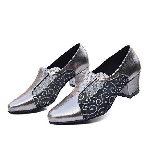 Misu Women's Closed toe Suede Sole Latin Salsa Tango Practice Ballroom Dance Shoes with 1.6