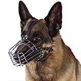 BronzeDog Wire Basket Dog Muzzle German Shepherd Metal Leather Adjustable Large (L)