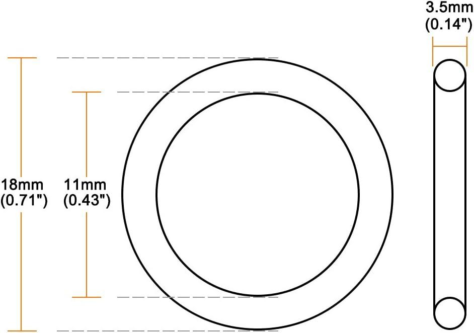 Sourcingmap O-ring in gomma nitrile diametro esterno 18/mm confezione da 50 rotonda guarnizione diametro interno 11/mm larghezza 3.5/mm