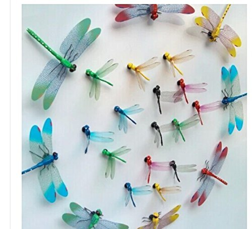 Amaonm 20pcs 3D Colorful Dragonfly Vividly Stickers Making Stickers DIY Ornament Party Kidgarden Wall Stickers Wall Decal Man-Made vividly Dragonfly Art Decor Decals