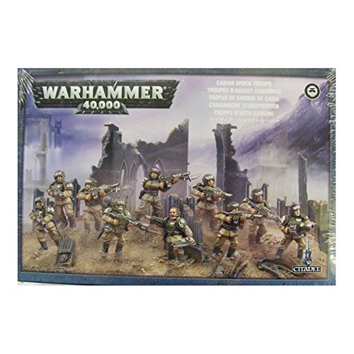 This box set contains 10 multi-part plastic Cadian Shock Troops, and includes: five leg variants, seven head variants, 10 lasguns, two chainswords, two laspistols, two grenade launchers, two flamers and two Vox-casters. Also included are a ho...