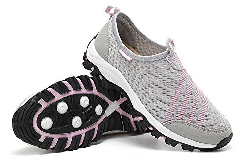 Gaatpot Women Casual Shoes Summer Breathable Mesh Sneakers Running Fitness Trainers Aqua Shoes For Men Women Grey Pink 1redgtB
