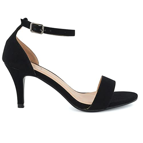 Womens Low Heel Sandals Peep Toe Stiletto Ladies Barely There Ankle Strap  Shoes  Amazon.co.uk  Shoes   Bags 44b08edd0fdc