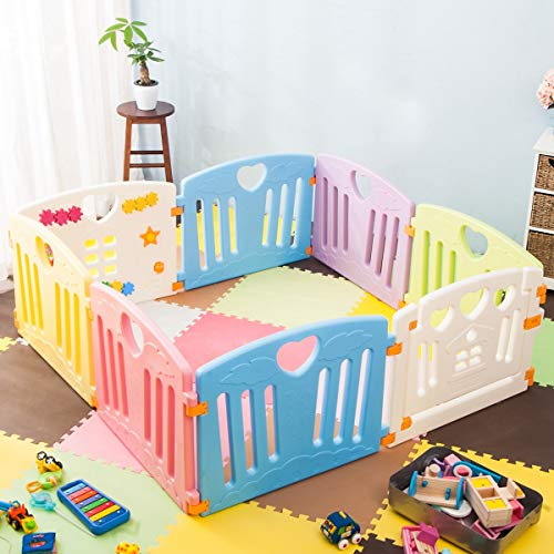 OCGIG 8 Panels Baby Playpen Activity Center Kids Safety Playards Home Indoor Outdoor Strong Fence,Classic Style