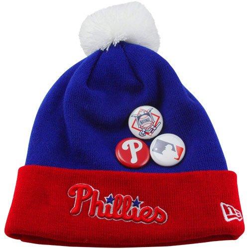 MLB New Era Philadelphia Phillies Button Up Cuffed Knit Beanie - Royal Blue/Red