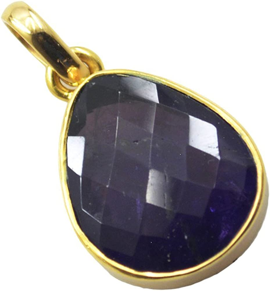Jewelryonclick Amethyst Gold Plated Charm Necklace Astrological Chakra Healing Pendant Handmade Jewelry