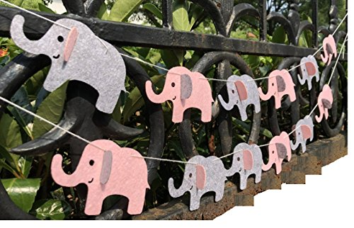 Elephant Banner Decorations Party Supplies Elephant Baby Shower Garland ( Pink Grey 12 Pcs) ()