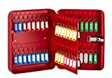 AdirOffice Key Cabinet with Combination Lock - 60 Key Hooks & Tags - Durable & Heavy Duty Secured Storage for Homes Hotels Schools & Commercial Use (Red)