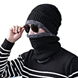 Men's Winter Beanie Hat Scarf Set Women Lined Thick Knit Skull Cap for Skiing Snowboarding,Black