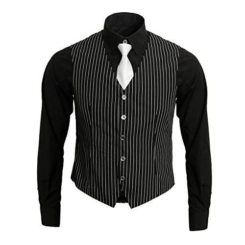 (1920s Adult Men's Gangster Shirt, Vest and Tie Costume Accessories Set Roaring 20s Fancy Dress Up Outfit Suit)