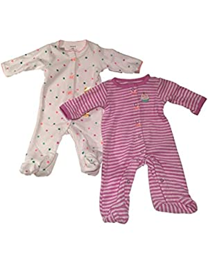 Carters Baby Girls Interlock Snap Sleeper, 3 Months, 2 Pack, White/purple