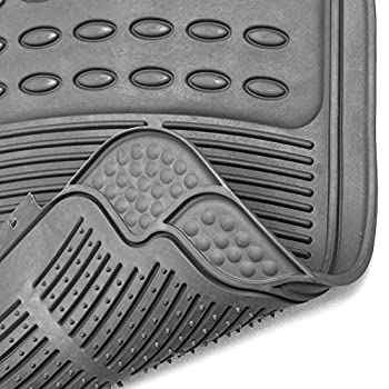 Oxgord Universal Fit 3-piece Full Set Ridged Heavy Duty Rubber Floor Mat - (Gray) 2