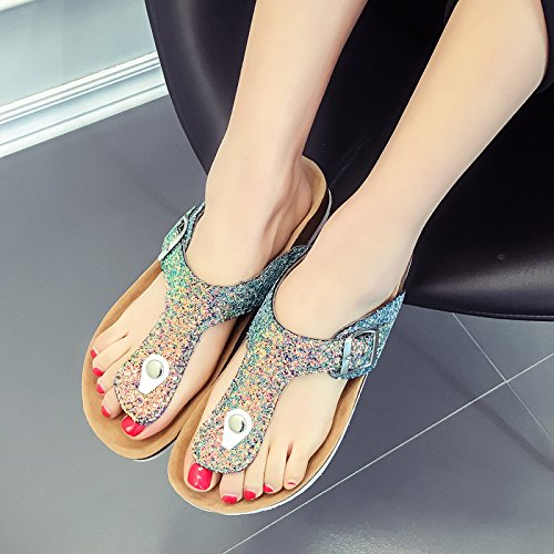 Ladies XING GUANG E Foot Style Drag Gold Flops Sandali Slippers Ciabatte Slippery Beach Flip Cork Summer New q0XqwxrU