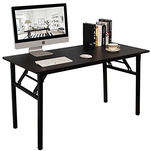 DlandHome 55 Inches Folding Table Computer Desk Portable Table Activity Table Conference Table Home Office Desk, Fully Assembled Black DND-ND5-140BB