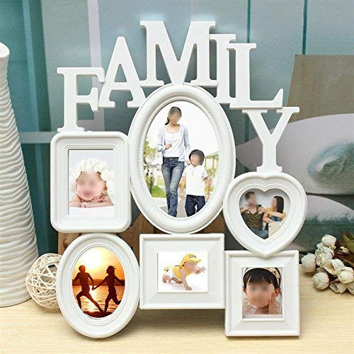 6 Frames White Plastic Family Photo Frame For Picture Wall Hanging Combination Photo Holder Display Home Room Decor Kids Gift ()
