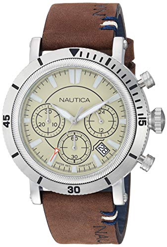 Nautica Men's Fairmont Chrono Stainless Steel Japanese-Quartz Leather Strap, Brown, 21.3 Casual Watch (Model: NAPFMT001
