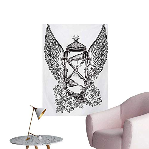 Anzhutwelve Sketchy Wallpaper Hand Drawn Romantic Hourglass Figure with Wings and Roses Mystic Time Theme SymbolBlack White W24 xL32 Funny Poster