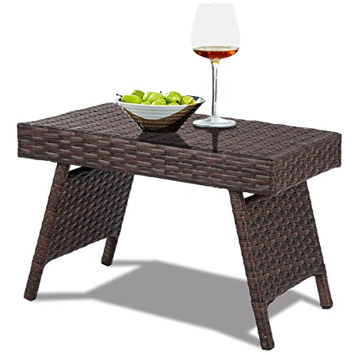 (Folding PE Rattan Side Coffee Table Patio Garden Outdoor Furniture Brown with Ebook)