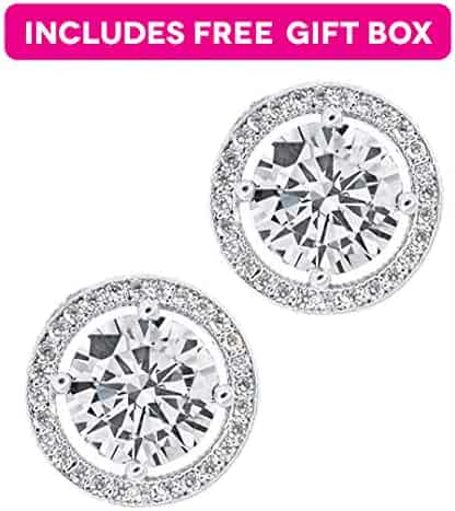 Jade Marie EMPOWERING Silver Halo Stud Earrings, 18k White Gold Plated Earrings with Large CZ Center Stone, Brilliant Pave Halo Stud Earring Set for Women