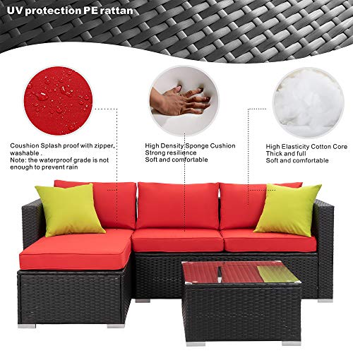 Walsunny Outdoor Rattan Sectional Sofa- Patio Wicker Furniture Set Red