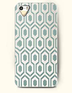 Apple iPhone 4/4S Cover Cadet Blue Hexagon Print - Hard Back Plastic Case / Honeycomb Pattern / OOFIT Authentic