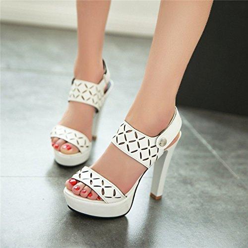 YCMDM Nuovo Tacchi alti sandali impermeabili dei pattini della piattaforma di modo delle donne , white , 36