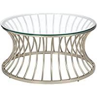 Mid Century Modern Round Coffee Cocktail Table with Tempered Glass Top and Satin Nickel Metal Frame - Includes Modhaus Living Pen