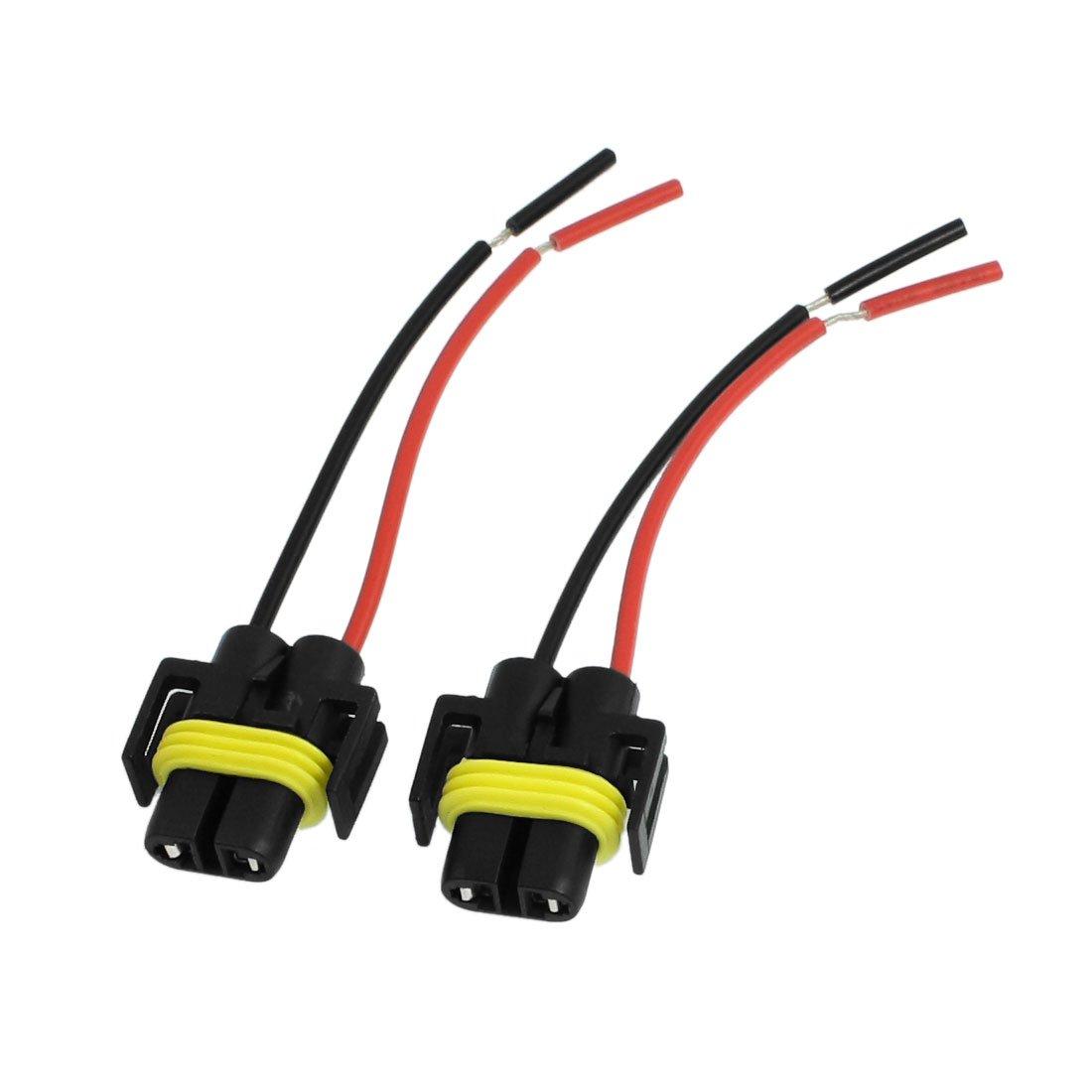 uxcell 2 Pcs Auto Car Headlight H11 Socket Harness Plastic Connector
