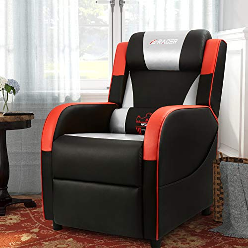 black leather recliner gaming chair homall gaming recliner chair single living room sofa 11227 | 51ouoDvaJdL