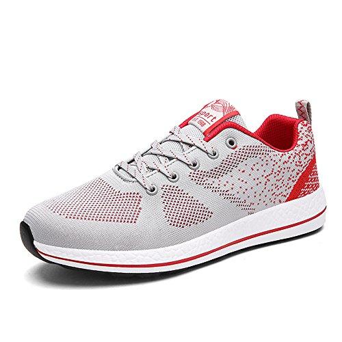 Vilocy Mens Andas Sticka Jogging Ridning Löparskor Utomhus Mode Sneakers För Gymmet Gå Grå