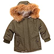 Baby Boy s' Winter Warm Coat Hoodie Parka Outerwear Jacket (6-12Months, Army Green)