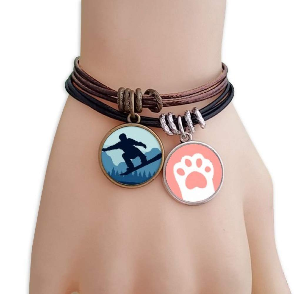 DIYthinker Winter Sport Pattern Ski Suit and Boots Cats Bracelet Leather Rope Wristband Couple Set