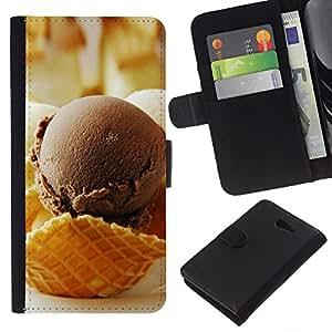 YiPhone /// Tirón de la caja Cartera de cuero con ranuras para tarjetas - Chocolate Crea Hielo - Sony Xperia M2