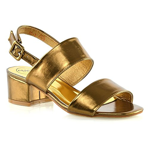 ESSEX GLAM Womens Low Heel Shoes Ladies Backstrap Party Prom Sandals (9 B(M) US, Bronze Metallic)