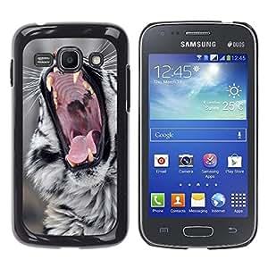 Qstar Arte & diseño plástico duro Fundas Cover Cubre Hard Case Cover para Samsung Galaxy Ace 3 III / GT-S7270 / GT-S7275 / GT-S7272 ( Roar Cat Big Nature Wild Animal Fangs)