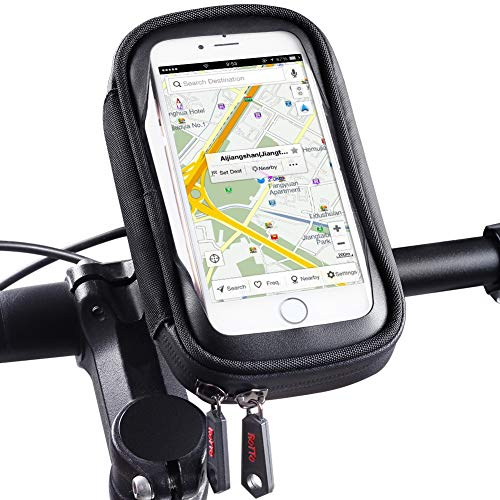 ROTTO Bike Phone Mount Waterproof Bicycle Cell Phone Holder Handlebar Bag Anti-Shake with 360° Rotation Three Sizes (Black-M) ()