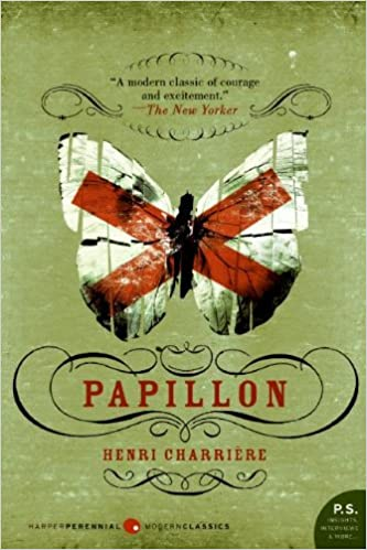 book cover for papillon by henri charrière