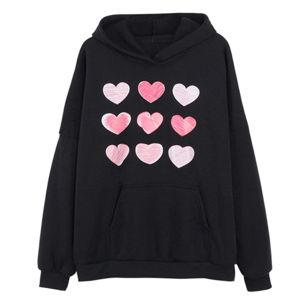 Harajuku Fashion Cute Rabbit Kawaii Hoody Casual Loose Long Sleeve Tracksuit Black