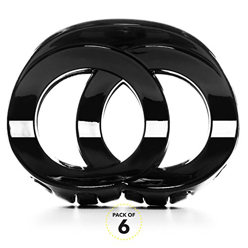RC ROCHE ORNAMENT Womens Hair Accessory Twin Circle Round Fashion Cute Girls Ladies Beauty Plastic Strong Hold Secure Grip Premium Oval Crown Claw Clips, 6 Pack Count Medium Black (Cute Hairstyles For Short Curly Hair For Teenagers)