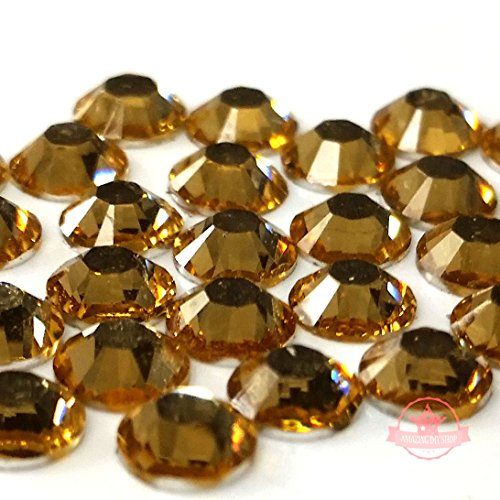 300 pcs LIGHT COLORADO TOPAZ yellow gold brown 4mm DIY Resin Round Rhinestones Gems 14 facets Flatbackship with samples from GreatDeal68