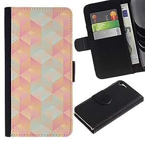 WINCASE Cuadro Funda Voltear Cuero Ranura Tarjetas TPU Carcasas Protectora Cover Case Para Apple Iphone 5 / 5S - Patrón poligonal 3d durazno rosa teal