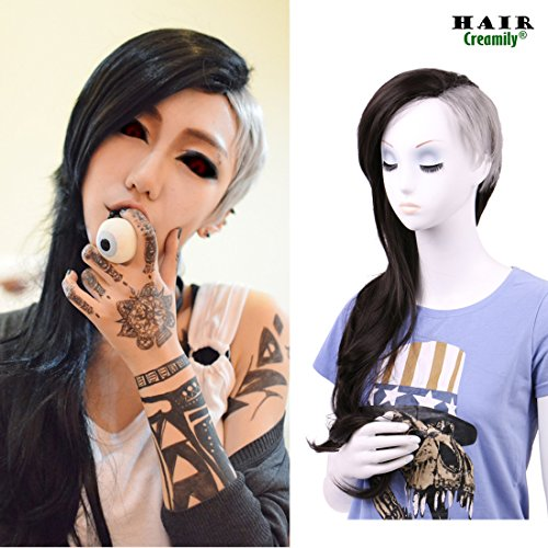 creamily Uta Genderbend Half Grey and Half Natural Black 2-Tone Dyed Hair Extensions Medium Long Curly Cosplay - Creamily