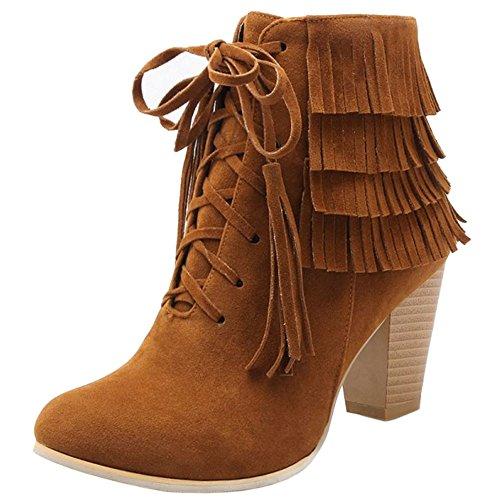 Coolcept Ladies Fashion Tassel Block Heel Boots Zipper Winter Shoes Brown