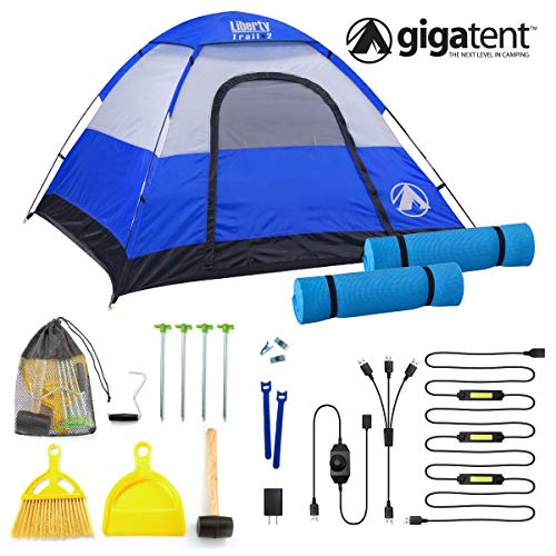 GigaTent Trailhead Dome 3-4 Person Camping POP UP Tent - Spacious, Lightweight, Heavy Duty - Weather and Flame Resistant Outdoor Hiking Gear - Fast, Easy Setup - 7'X7′ Floor, 51″ Height KIT Two