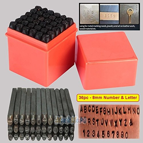 Rockford Cherry (36 PC 8MM STEEL METAL LETTER AND NUMBER STAMP PUNCH STAMPING STAMPER TOOL SET US)
