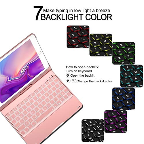 Keyboard for iPad 6th Generation 9.7inch (2018)-iPad 2017(5th Generation)-iPad Pro 9.7inch -iPad Air 2 &1, Wireless/BT-360 Rotatable -Breathing LED & 7 Colors Backlit - iPad Keyboard Case(Rose Gold) by Bosixty (Image #4)