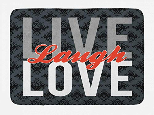 - Ambesonne Live Laugh Love Bath Mat, Different Typed Words of Wisdom Victorian Antique Damask Motifs Tile Print, Plush Bathroom Decor Mat with Non Slip Backing, 29.5 W X 17.5 L Inches, Multicolor