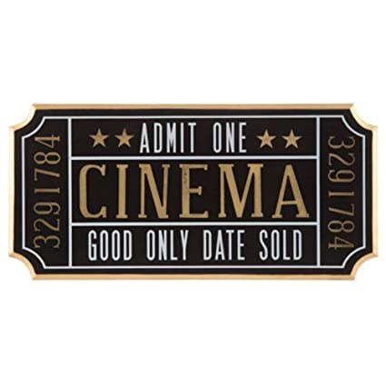 Amazon KN41 Indoor Decor Cinema Ticket Wall Sign Theater Media Plaque Room Movie Night Art Home Kitchen
