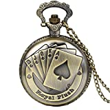JewelryWe Steampunk Antique Royal Flush Poker Cards Pocket Watch with 31.5' Chain for Women Men